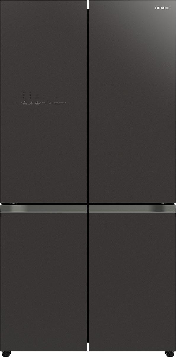מקרר 4 דלתות היטאצי R-WB640VRS0 זכוכית שחורה\שוקלד